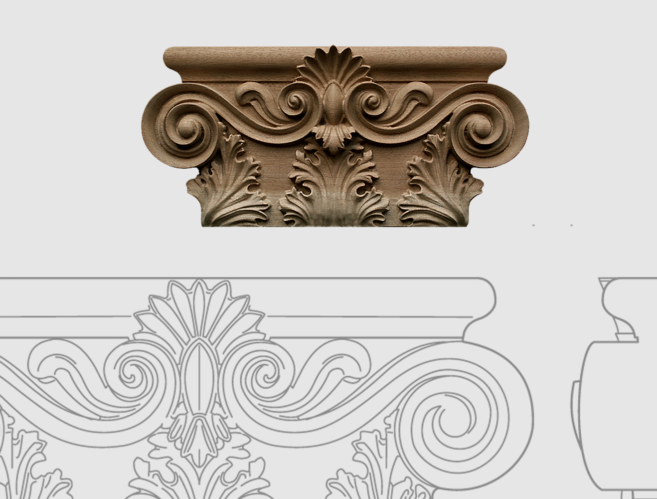 Kapitelle für Holzsäulen und kannelierte Pilaster - Ornamentschnitzer