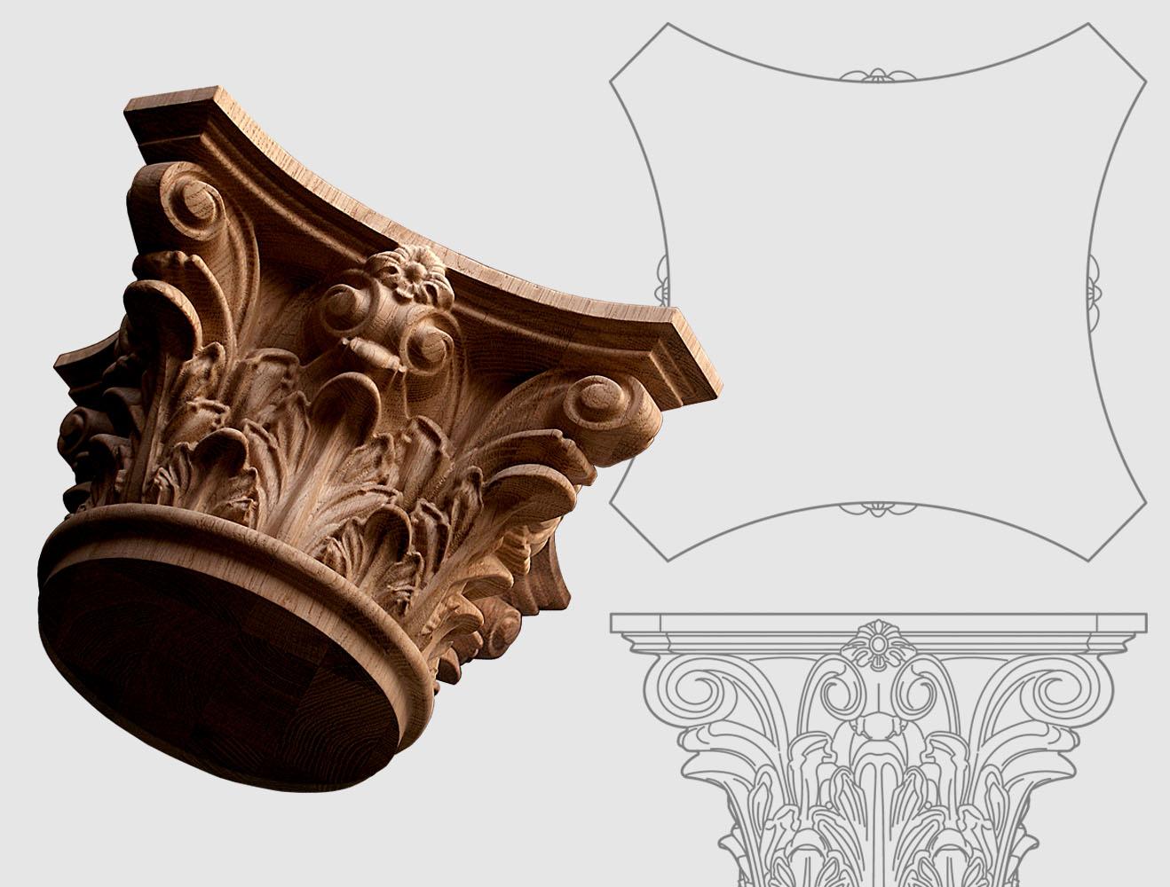 Korinthische Holzkapitell für Holzsäulen auf Anfrage