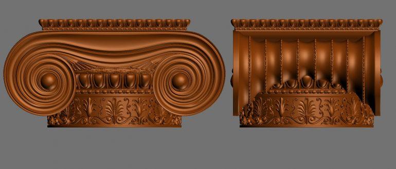 Ionische Holzkapitelle