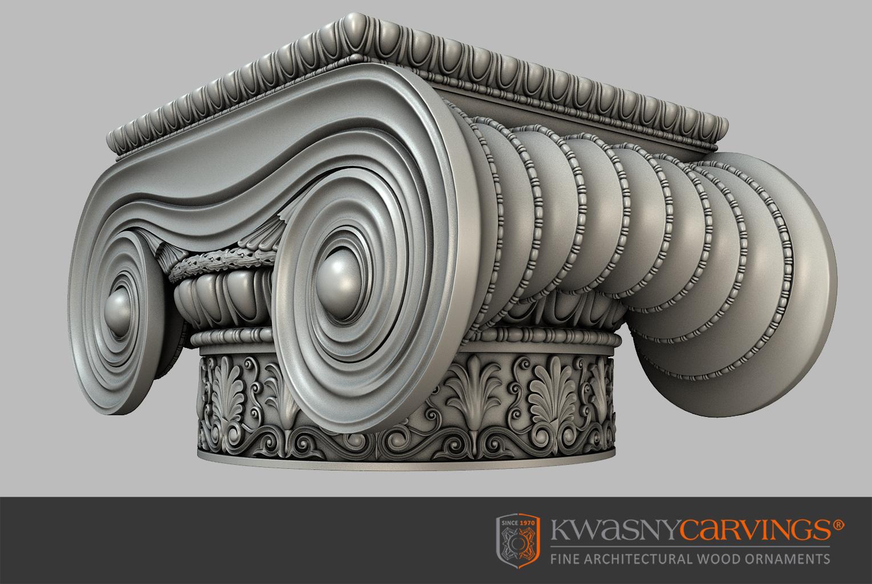 Gefräste ionische Holzkapitell zur Rekonstruktion und Renovierung historischer Innenräume in Denkmalobjekten und Stilvoll Wohnen.