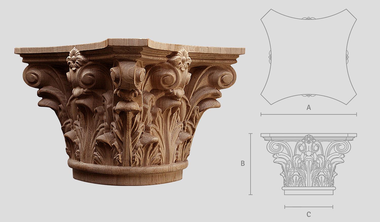Korinthisch Kapitell aus Holz