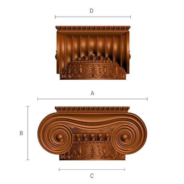 Ionische Kapitell aus Holz